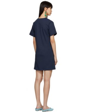 photo Navy Twist Detail T-Shirt Dress by Carven - Image 3