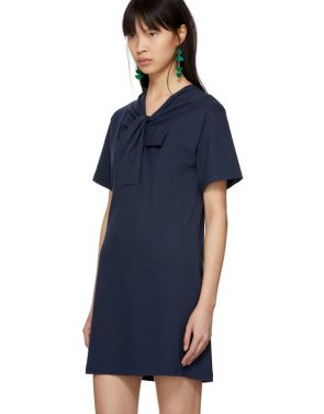 photo Navy Twist Detail T-Shirt Dress by Carven - Image 4