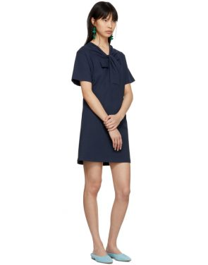 photo Navy Twist Detail T-Shirt Dress by Carven - Image 5