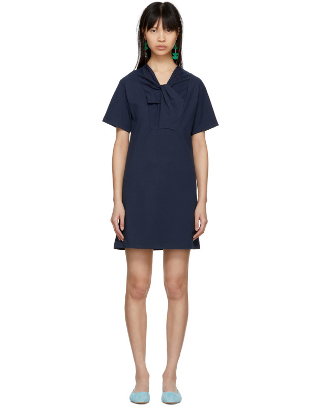 photo Navy Twist Detail T-Shirt Dress by Carven - Image 1