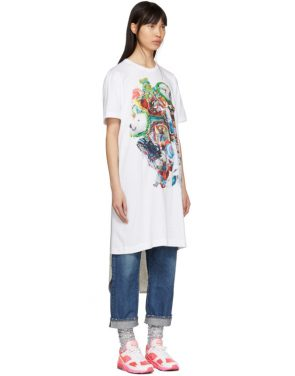 photo White Panelled Print T-Shirt Dress by Comme des Garcons Homme Plus - Image 2