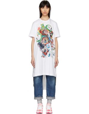 photo White Panelled Print T-Shirt Dress by Comme des Garcons Homme Plus - Image 1