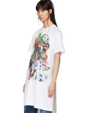 photo White Panelled Print T-Shirt Dress by Comme des Garcons Homme Plus - Image 4