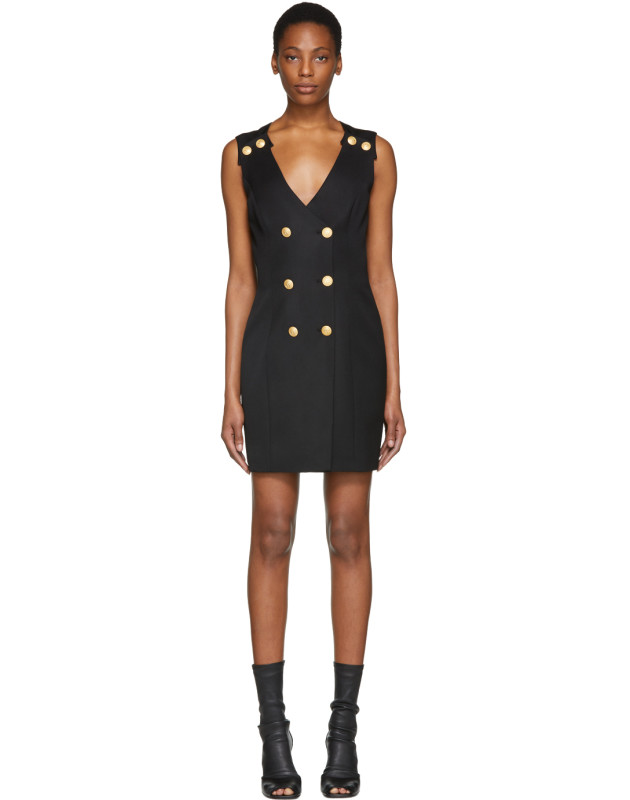 photo Black Double-Breasted Mini Dress by Pierre Balmain - Image 1