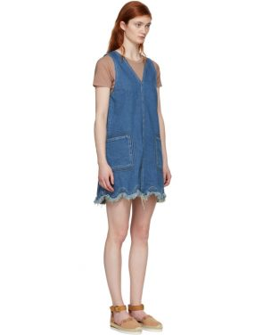 photo Blue A-Line Denim Dress by See by Chloe - Image 2