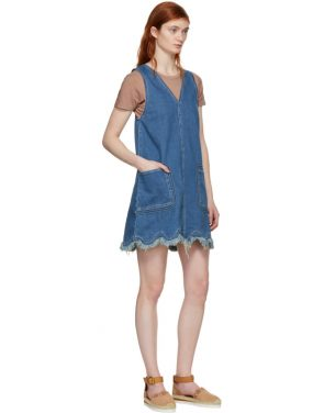 photo Blue A-Line Denim Dress by See by Chloe - Image 5