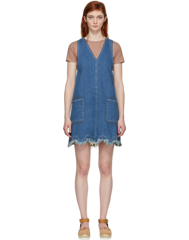 photo Blue A-Line Denim Dress by See by Chloe - Image 1