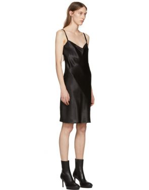 photo Black Silk June Slip Dress by Ann Demeulemeester - Image 2