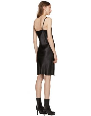 photo Black Silk June Slip Dress by Ann Demeulemeester - Image 3