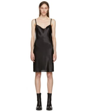 photo Black Silk June Slip Dress by Ann Demeulemeester - Image 1