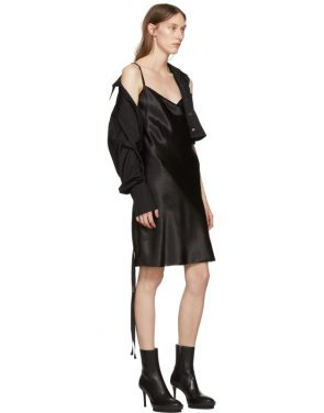 photo Black Silk June Slip Dress by Ann Demeulemeester - Image 5
