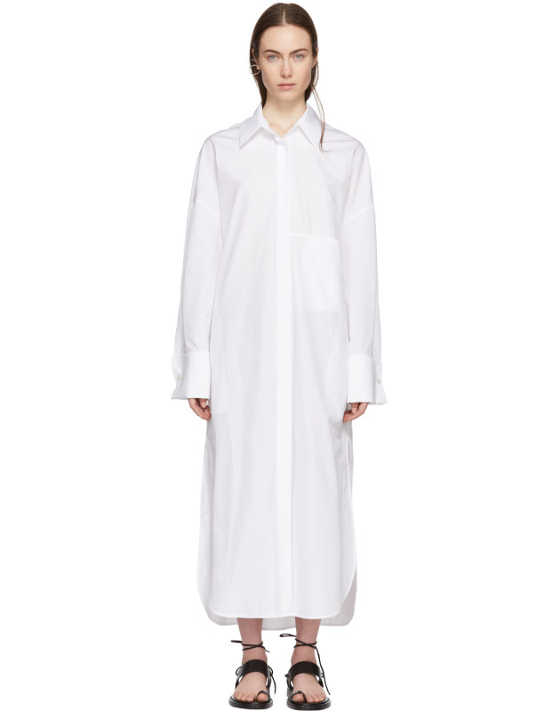 photo White Byron Shirt Dress by Ann Demeulemeester - Image 1