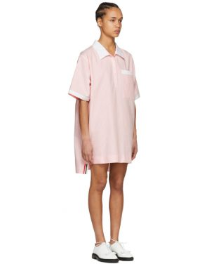 photo Pink and White Seersucker Polo Mini Dress by Thom Browne - Image 2
