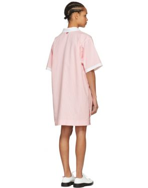 photo Pink and White Seersucker Polo Mini Dress by Thom Browne - Image 3