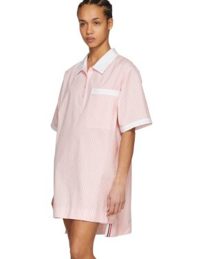photo Pink and White Seersucker Polo Mini Dress by Thom Browne - Image 4