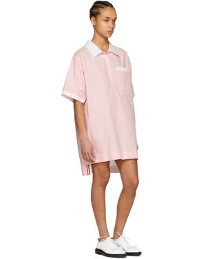 photo Pink and White Seersucker Polo Mini Dress by Thom Browne - Image 5