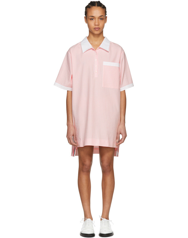 photo Pink and White Seersucker Polo Mini Dress by Thom Browne - Image 1