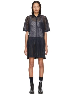 photo Navy Mesh Stripe Boxy Polo Dress by Thom Browne - Image 1