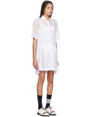 photo White Mesh Stripe Boxy Polo Dress by Thom Browne - Image 2