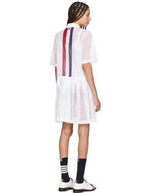 photo White Mesh Stripe Boxy Polo Dress by Thom Browne - Image 3