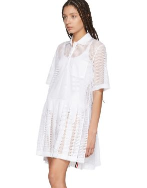 photo White Mesh Stripe Boxy Polo Dress by Thom Browne - Image 4