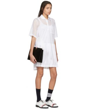 photo White Mesh Stripe Boxy Polo Dress by Thom Browne - Image 5