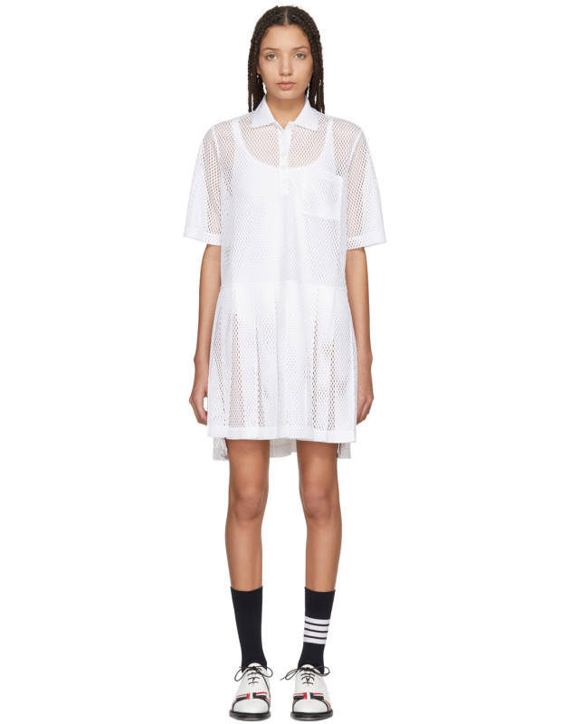 photo White Mesh Stripe Boxy Polo Dress by Thom Browne - Image 1