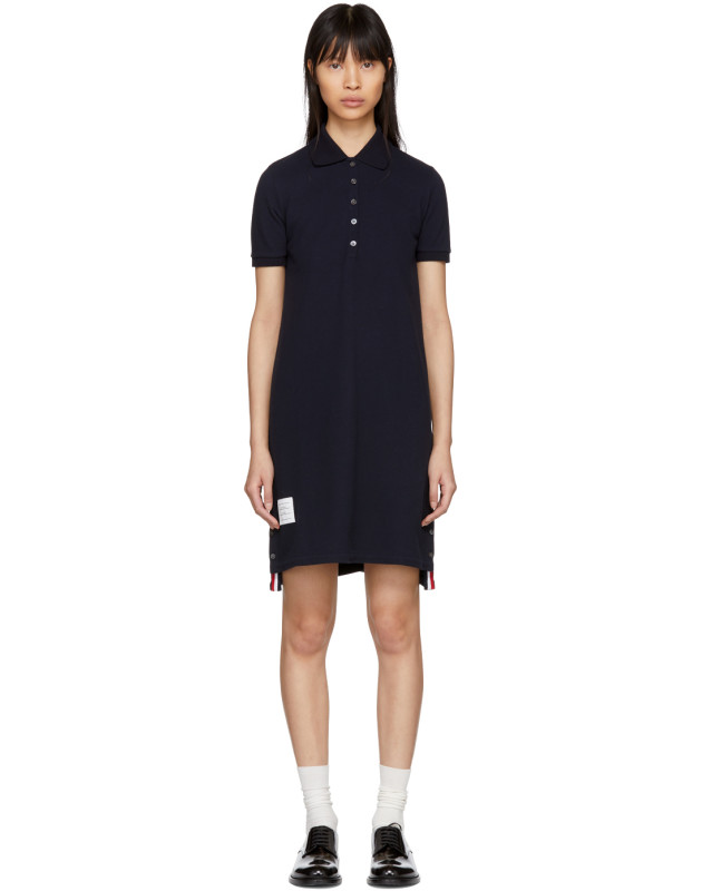 photo Navy A-Line Polo Dress by Thom Browne - Image 1