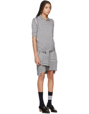photo Grey Merino 2-in-1 Cardigan Polo Dress by Thom Browne - Image 2