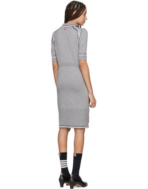photo Grey Merino 2-in-1 Cardigan Polo Dress by Thom Browne - Image 3