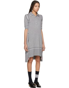photo Grey Merino 2-in-1 Cardigan Polo Dress by Thom Browne - Image 4
