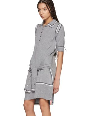photo Grey Merino 2-in-1 Cardigan Polo Dress by Thom Browne - Image 5
