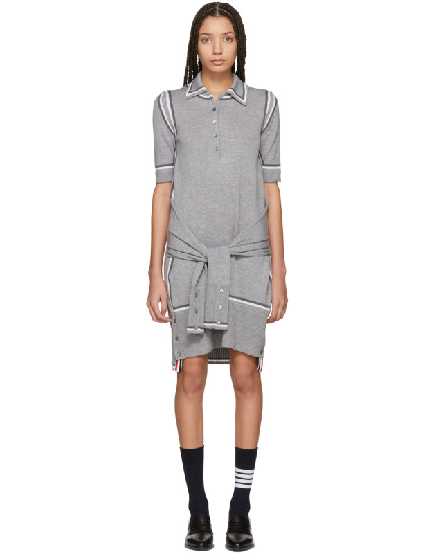 photo Grey Merino 2-in-1 Cardigan Polo Dress by Thom Browne - Image 1
