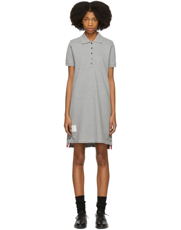 photo Grey A-Line Polo Dress by Thom Browne - Image 1