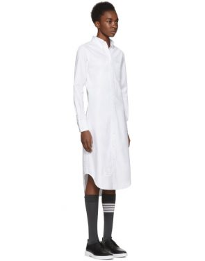 photo White Classic Button-Down Point Collar Shirt Dress by Thom Browne - Image 2