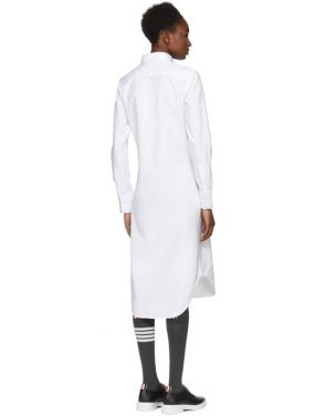photo White Classic Button-Down Point Collar Shirt Dress by Thom Browne - Image 3