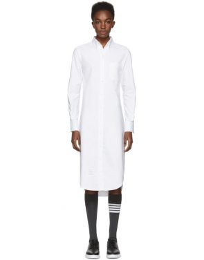 photo White Classic Button-Down Point Collar Shirt Dress by Thom Browne - Image 1