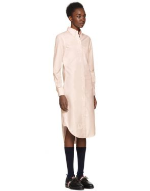 photo Pink Classic Button-Down Point Collar Shirt Dress by Thom Browne - Image 2