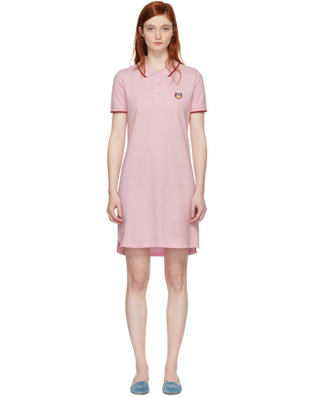 photo Pink Tiger Crest Polo Dress by Kenzo - Image 1