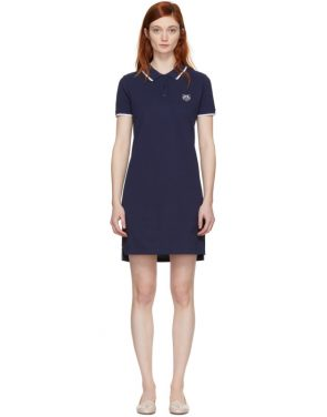 photo Navy Tiger Crest Polo Dress by Kenzo - Image 1