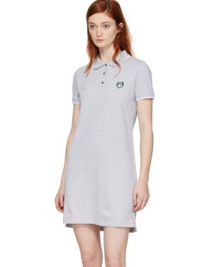 photo Grey Tiger Crest Polo Dress by Kenzo - Image 4