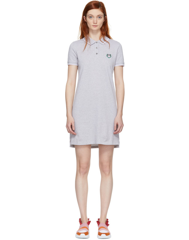 photo Grey Tiger Crest Polo Dress by Kenzo - Image 1