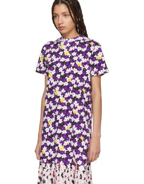 photo Multicolor Mix Floral Pleat T-Shirt Dress by Kenzo - Image 4