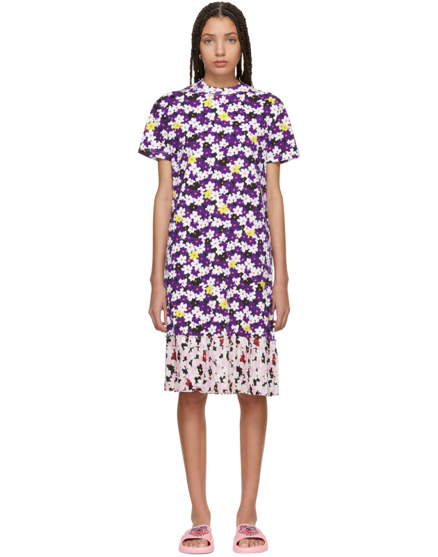 photo Multicolor Mix Floral Pleat T-Shirt Dress by Kenzo - Image 1