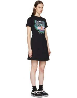 photo Black Tiger Flared T-Shirt Dress by Kenzo - Image 2