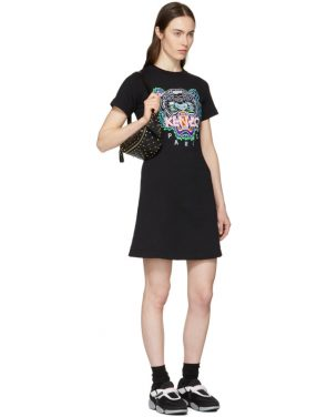 photo Black Tiger Flared T-Shirt Dress by Kenzo - Image 4