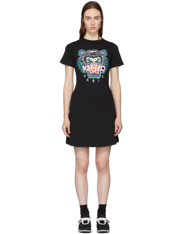 photo Black Tiger Flared T-Shirt Dress by Kenzo - Image 1