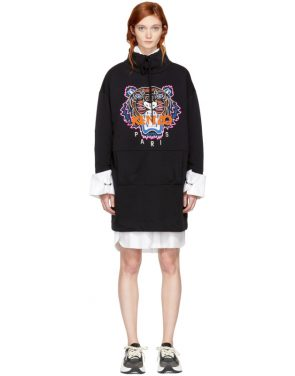 photo Black Limited Editon Tiger Sweatshirt Dress by Kenzo - Image 1