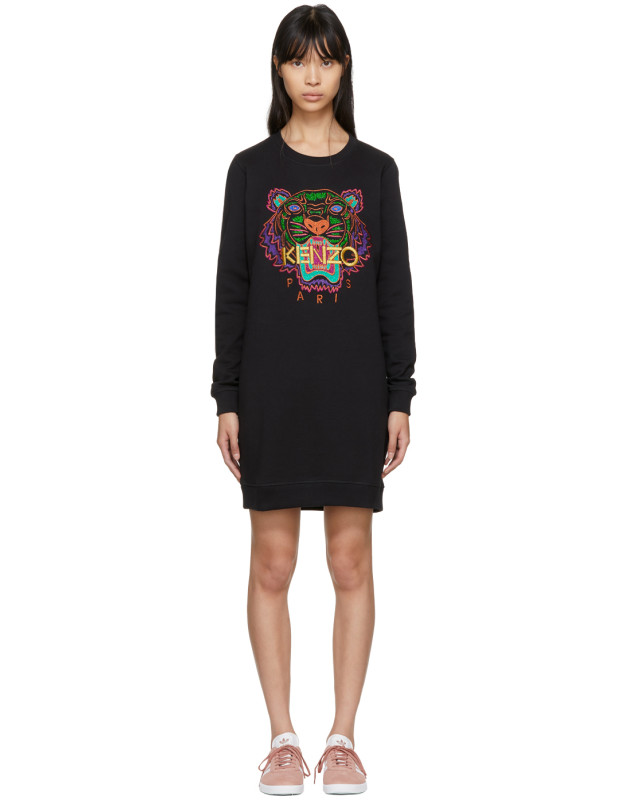 photo Black Limited Edition Holiday Tiger Sweatshirt Dress by Kenzo - Image 1