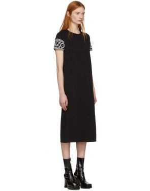 photo Black Midi Sport T-Shirt Dress by Kenzo - Image 2